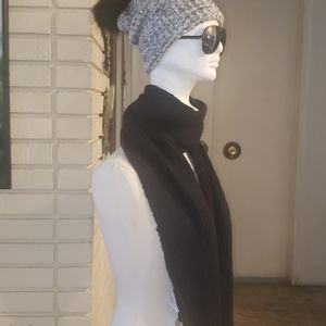 Black and Gray New Scarf and knitted Hat